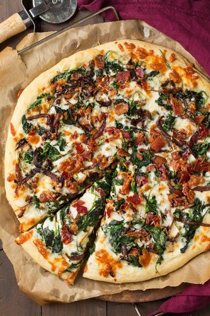 Caramelized Onion, Bacon and Spinach Pizza |  I am so in love with this right now