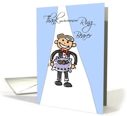 Will You Be Ring Bearer Invitation Stick Figure On Blue Card Personalize Any Greeting For No Additional Cost