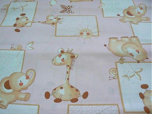 Detská bavlna - zvieratká na ružovom