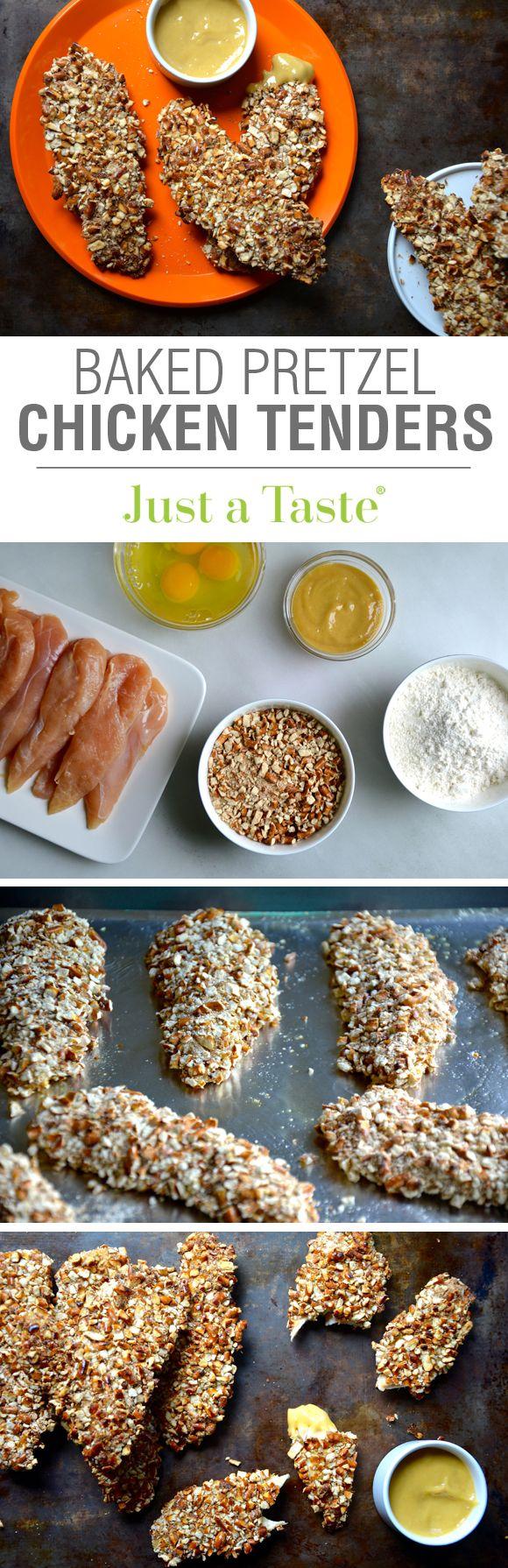 Baked Honey Mustard Pretzel Chicken Tenders recipe via justataste.com | A 30-minute dinner recipe for the whole family!