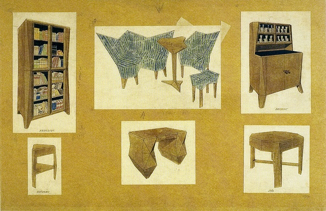 Pavel Janák, Furniture designs for doctor Záviška, 1912. India ink, water color, crayon, .50 x .75m. Prague, National Technical Museum, architecture archives. Source: Prague 1900-1938.