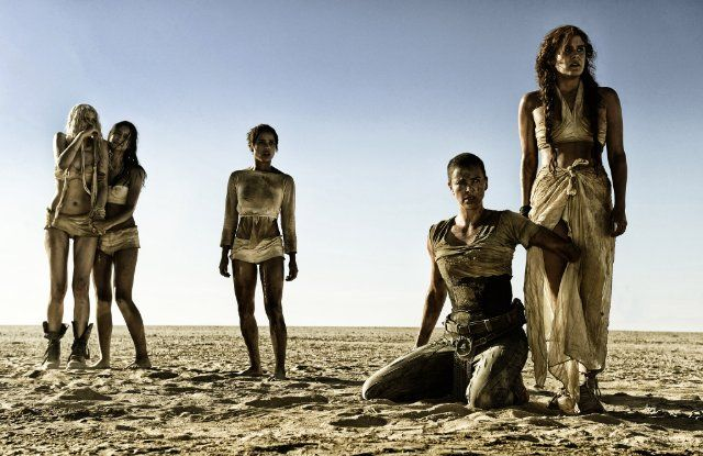 Still of Charlize Theron, Riley Keough, Zoë Kravitz, Abbey Lee and Courtney Eaton in Mad Max: Fury Road (2015)