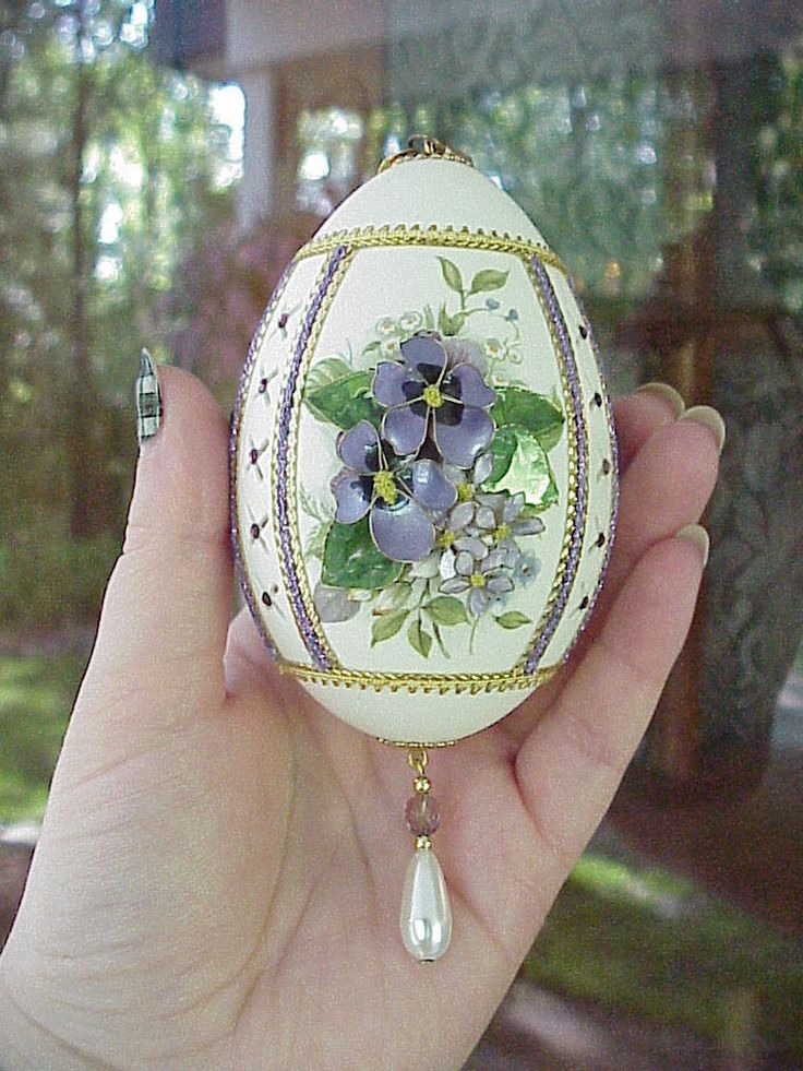REAL Hand Decorated Carved Goose Egg Easter Tree Ornament Purple Collectible