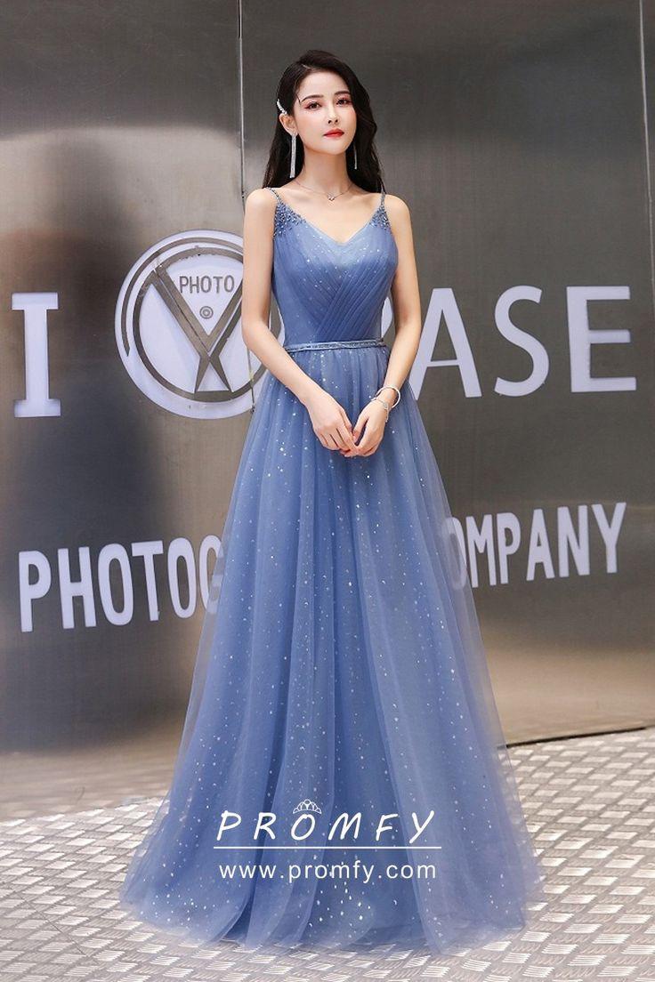 Amazing Dusty Blue Glitter Tulle Wedding Guest Gown Wedding Guest Gowns Wedding Guest Dress A Line Prom Dresses [ 1104 x 736 Pixel ]
