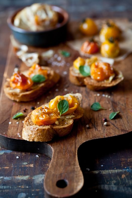 Tomatoes And Roasted Garlic Tartines | D-lish | Pinterest | Roasted ...