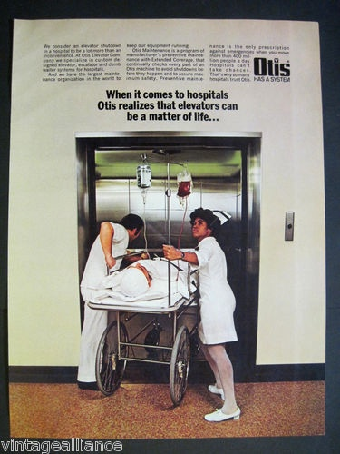 Nurse & orderly rushing patient to elevator 1971 Otis Elevator Company Print Ad