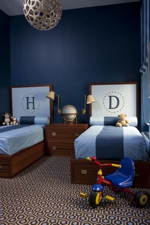 Fantastic Boys Bedroom With David Trubridge C 400 Pendant Lamp Blue Walls Paint Color Twin Wood Monogram Beds Brown Hicks Colony Rug