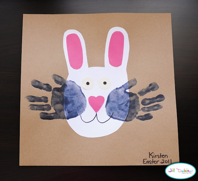 Easter bunny with handprint whiskers, So cute.