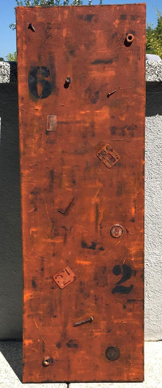 Peinture abstrait tableau effet rouillé style industriel : Peintures par zou67