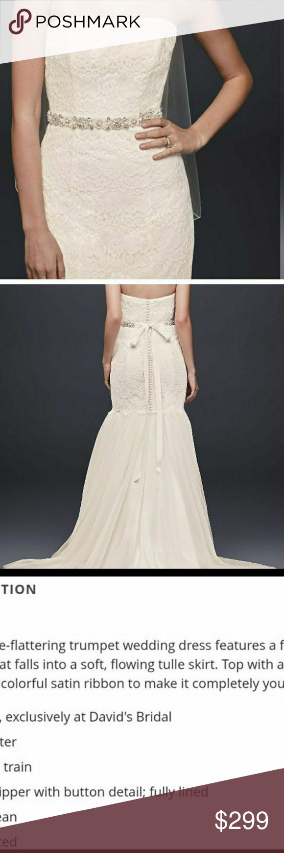 Figure Flattering Wedding Dress Davids Bridal figure-fattering  trumpet wedding dress that features a fitted lace bodice that falls into a soft, flowing tulle skirt. Make this your own by adding a sparking crystal or color satin ribbon. Will include ivory crystal belt and veil with reasonable or full price offer. David's Bridal Dresses Wedding