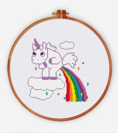 Funny unicorn pooping rainbow cross stitch pattern