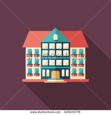 City hotel flat square icon with long shadows. #buildingicon #flaticons #vectoricons #flatdesign