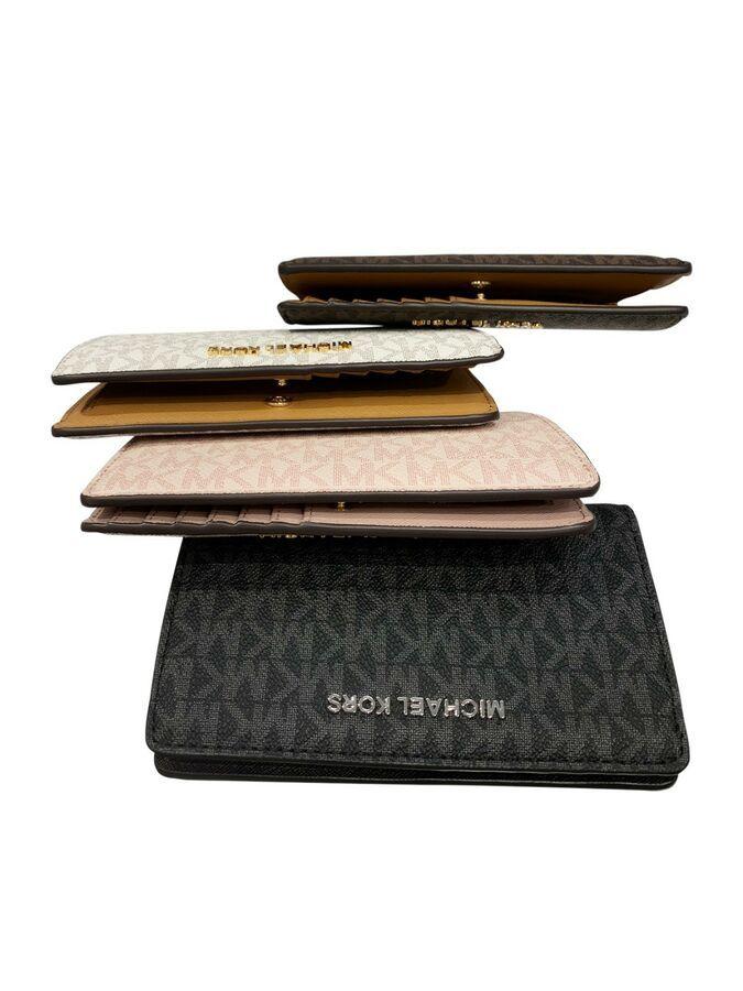 4e20ae2b4d46 Michael Kors Jet Set Travel Slim Bifold Wallet Brown Vanilla Pink Black MK# Set#Travel#Slim
