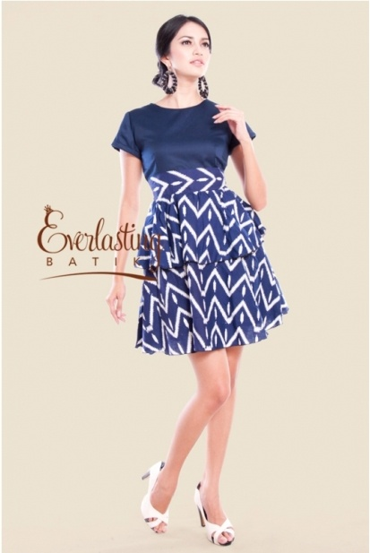 Blue Marsha zigzaq dress