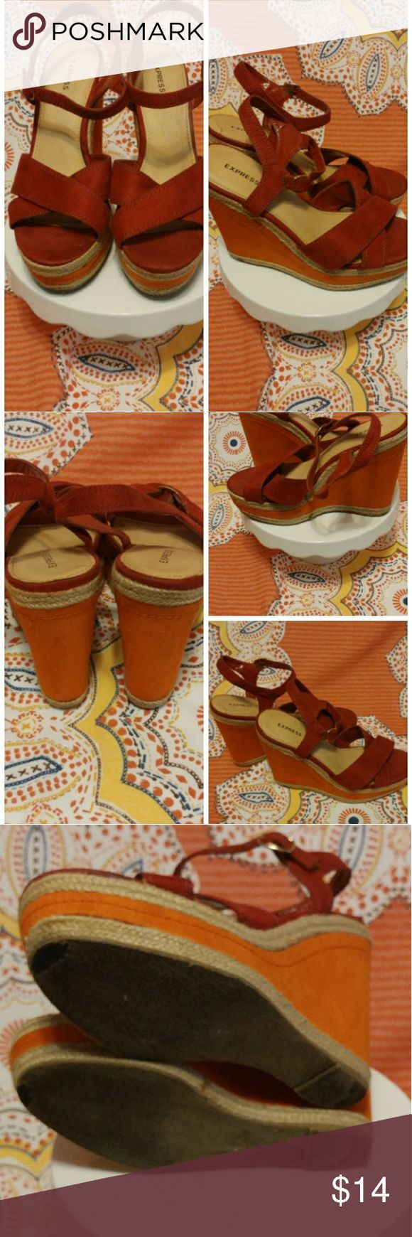 🌼Sandals🌼 **Price Reduction** Super cute burgundy and orange espadrilles, at least 3 inch, wedge heels, straps around ankle, note flaws on bottom due to wearing Express Shoes Espadrilles