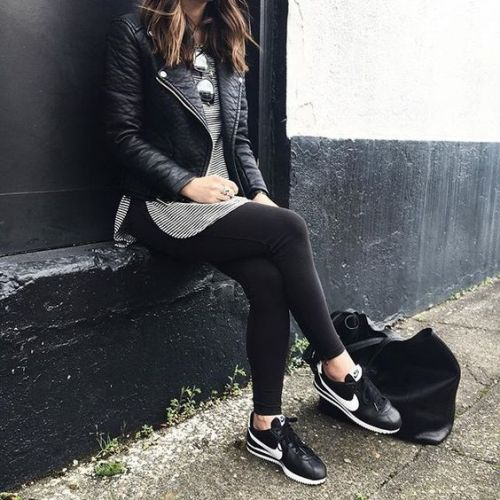 Leather jacket with sneakers-Zara winter outfits mix and match – Just Trendy Girls