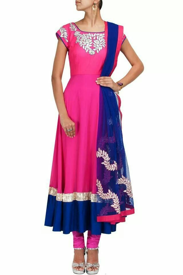Pink and blue with gota patti work. Recreated by Shefali Couture Shefu_patel@hotmail.com for wholesale price