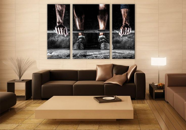 Power lifter portrait large canvas 3 panels print fitness wall deco fine art photography repro print
