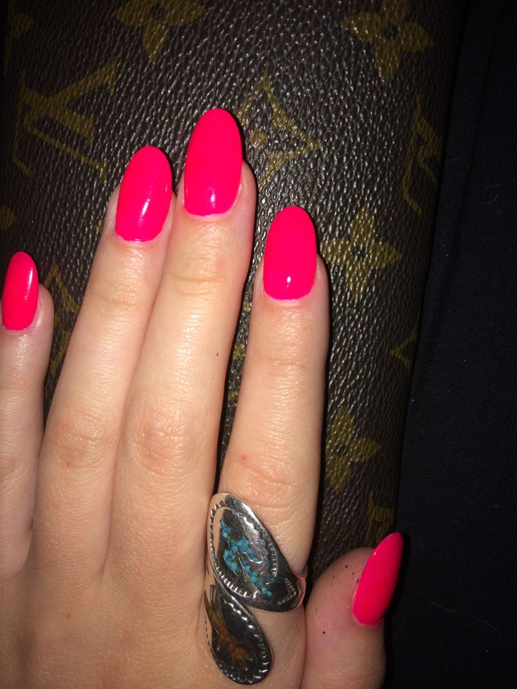 Hot pink oval nails.
