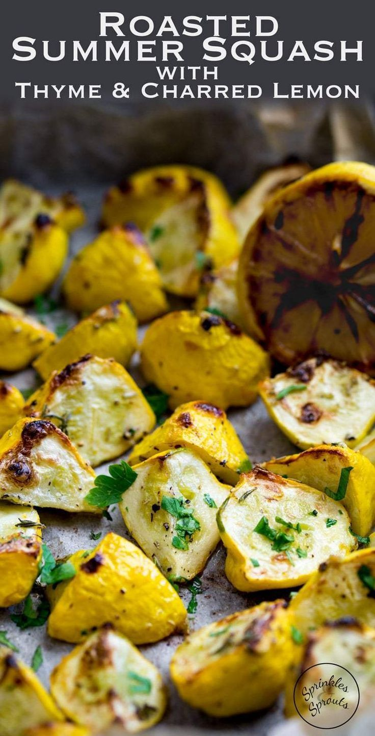 Flash roasted summer squash, drizzled with extra virgin olive oil and generously seasoned with fresh thyme. Finished with the caramelised sweet and sour hit of charred lemons. This is a side dish that packs a punch and is perfect for just about any occasion! From www.sprinklesands...