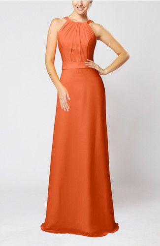 Tangerine Elegant Jewel Sleeveless Zip up Floor Length Ribbon Wedding Guest Dresses - iFitDress.com