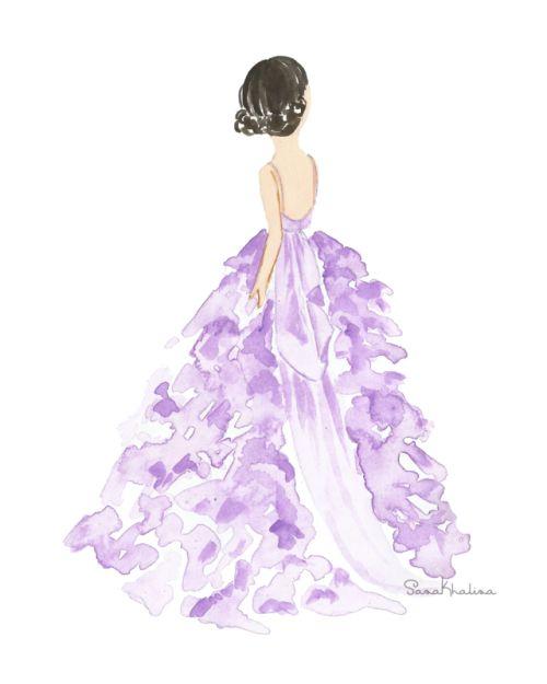 Monique Lhuillier gown illustrated by Sasa Khalisa
