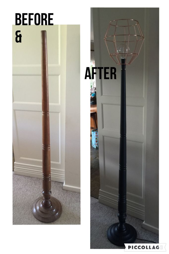 FLOOR STANDARD LAMP REVAMP PROJECT: Op shop lamp base: 2 coats black chalk paint, 1 coat clear wax, rewired, add cool bulb & copper batten-fix light shade. Happy with the result