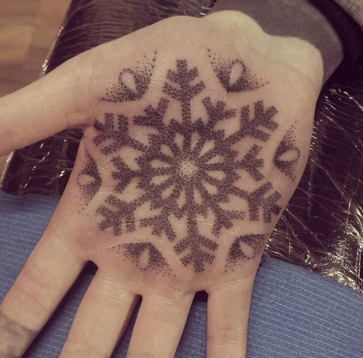 Snowflake Palm Tattoo http://tattooideas247.com/snowflake/