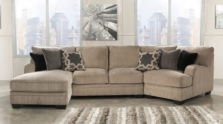 Katisha 30500-16-34-75 3-Piece Fabric Sectional Sofa with Left Chaise, Armless Loveseat, Right Cuddler and Accent Pillows Included in Platinum Color