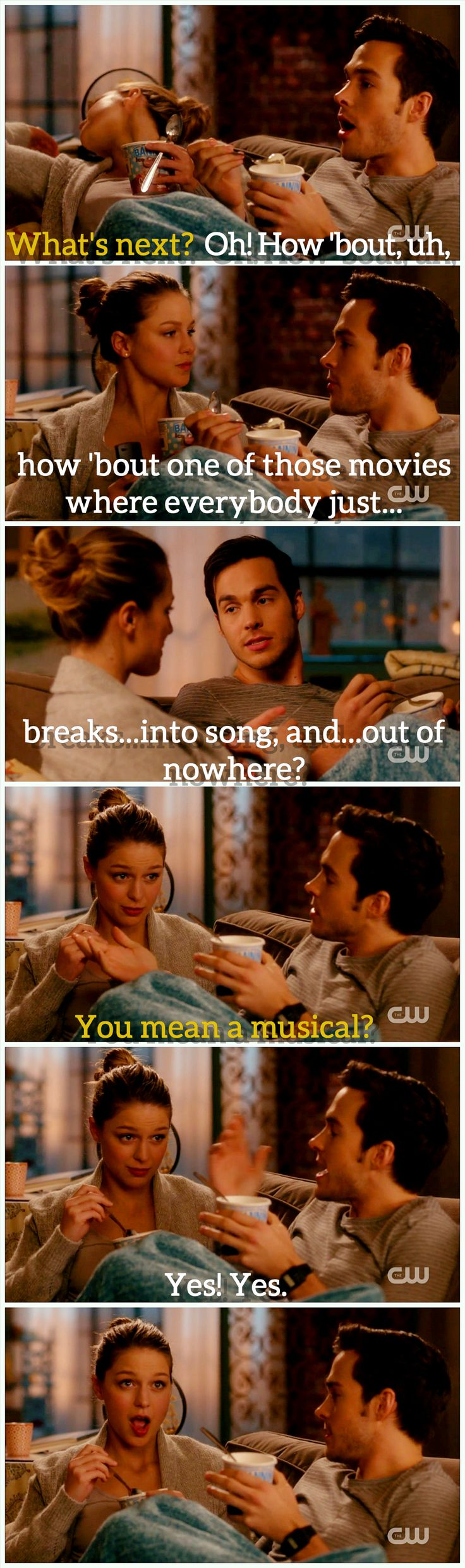 Ok. Where do I find a Mon-El? (Besides Earth 38/Daxam, I mean.) The boy is willing to do date night on the couch with ice cream, and watch [classic] musicals. Kara has the appropriate response. ;D (Also: best description of a musical EVER. Lol.) |TV Shows||CW||#Supergirl edit||Season 2||2x16||Star-Crossed||Kara x Mon-El||#Karamel funny edit||Kara Danvers||Melissa Benoist||Chris Wood||#DCTV|