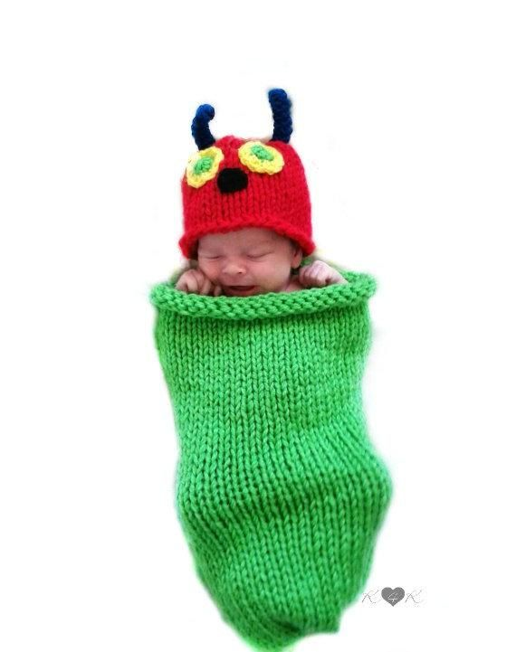 c1edba5b7 Hungry Caterpillar Cocoon and Hat Knit Caterpillar Costume | Etsy ...