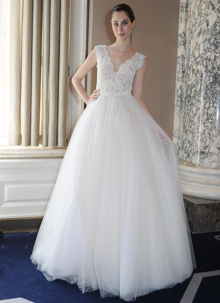 Christos Costarellos cap-sleeved tulle ball gown wedding dress from Spring 2016