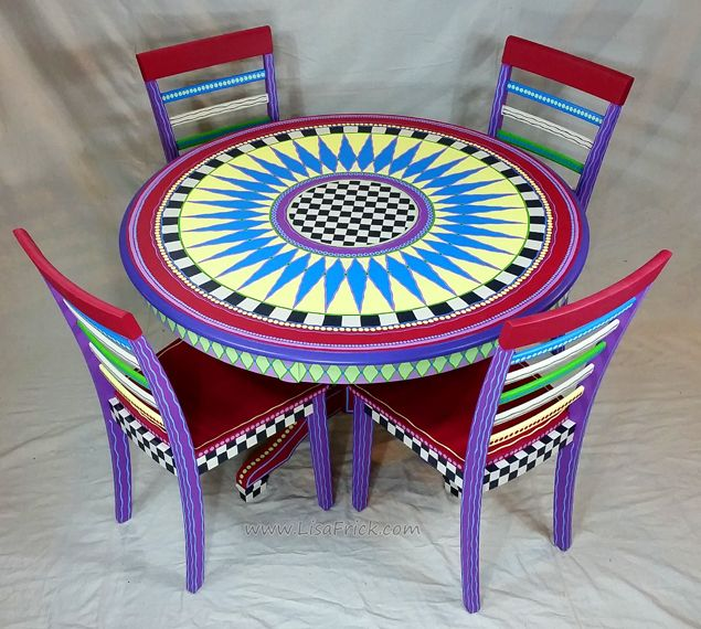 Hand Painted Alice In Wonderland Themed Dining Table And Chairs. Custom  Ordersu2026