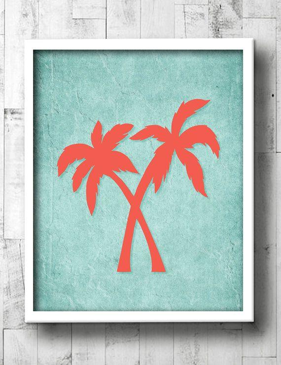 Palm Tree Bathroom Art  Aqua & Coral Tropical by DaphneGraphics, $15.00