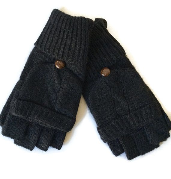 Cable knit Gloves Black Knitted Gloves by purplepossumuk on Etsy