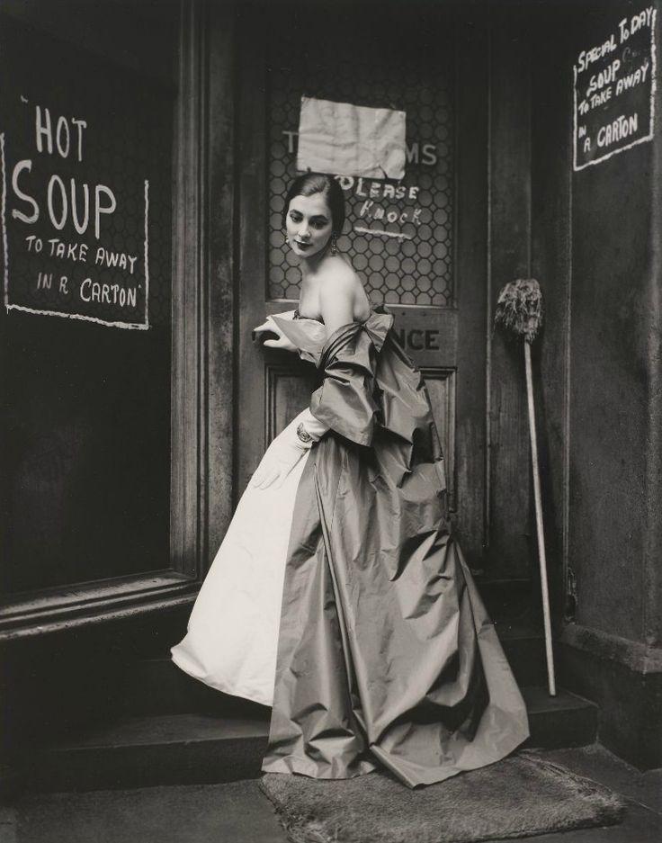 Hot Soup, Eastern Market, Melbourne, Australia, 1957/  Photographer: Bruno Benini/  Model: Janet Dawson: Melbourne Australia, Fashion Photographers, 1957, Vintage Fashion, Fashion Photography, 1950 S, Bruno Benini, Black, 1950S Fashion