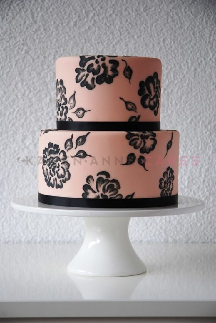 Apricot And Black Brush Embroidery Wedding Cake