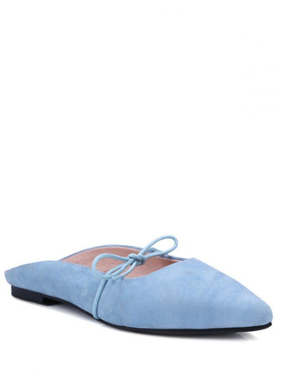 Pointed Toe Bowknot Solid Color Sandals - LIGHT BLUE 37 Mobile