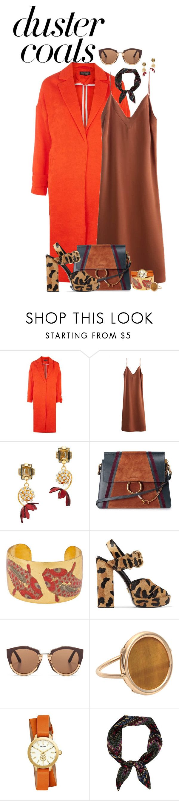"""""""should be good"""" by fantasia-fashion ❤ liked on Polyvore featuring Topshop, Marni, Chloé, Évocateur, Prada, Ginette NY, Tory Burch, contest and DusterCoats"""