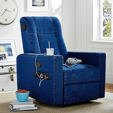 Denim Kick Back Recliner Speaker Media Chair Chicago