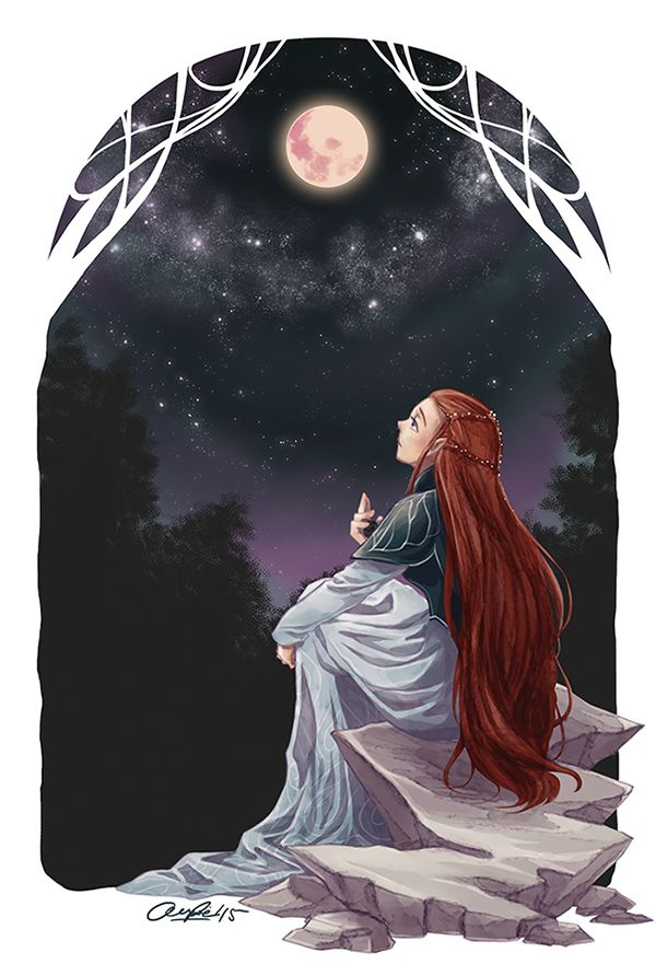 Nerdanel - I just imagine this is when she was young, during her firsts travels with thas strange princeling Fëanor. He asks her: What are you doing, little flame-girl? / Just waiting/ For what? / ... / Nerdanel? /... Someone worthy of stargazing with me without annoying questions! The Fëanor rolls his eyes and he just takes his scroll back and continues drawing by the firelight. It is just late at night while he can't sleep when he realizes: Was she inviting me to look at the stars with…