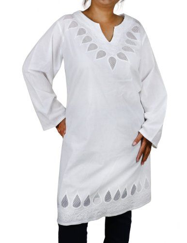 Plus Größe Weiße Damenbluse, Besticktes Kurti Sommerkleid Größe: 46 (XL) ShalinIndia http://www.amazon.de/dp/B00CC8ZAF8/ref=cm_sw_r_pi_dp_XQb6vb1HFFQAZ