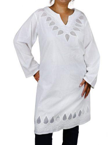 Plus Size White Shirt Women Top Embroidered Kurti Airy Summer Dresses (XL/42) ShalinIndia http://www.amazon.in/dp/B00CC8ZAF8/ref=cm_sw_r_pi_dp_4f10tb0Y5RXZ0FVQ