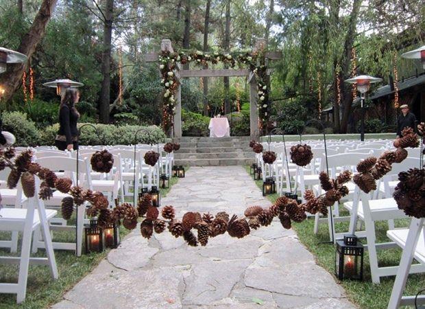 pine cone winter wedding arch ideas | Pinecone Wedding Inspiration 5