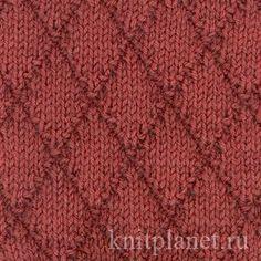 Узор спицами Ромбы № 1 - Узоры спицами - ромбы, как связать узор на спицах, схема вязания узора