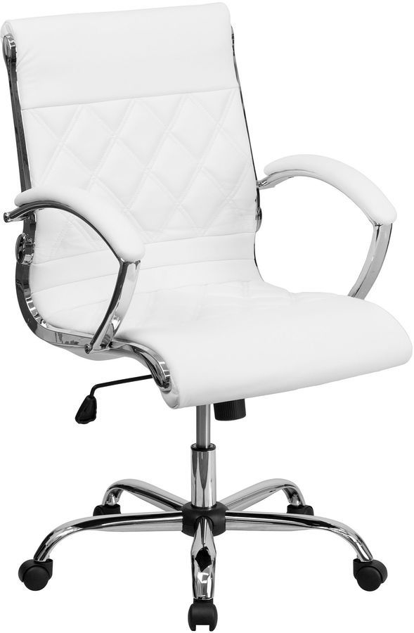 Beautiful white leather office chair on sale for $225! Would look perfect in my home office with my white desk.