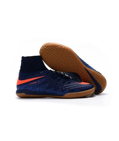 Nike HypervenomX Proximo IC Hohe Spitzen Fußballschuhe Blau Braun Orange