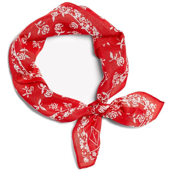 Rag & Bone Floral Bandana ($95) ❤ liked on Polyvore featuring accessories, scarves, ragbone shoes, cotton bandanas, red shawl, red scarves, cotton handkerchiefs and red bandana