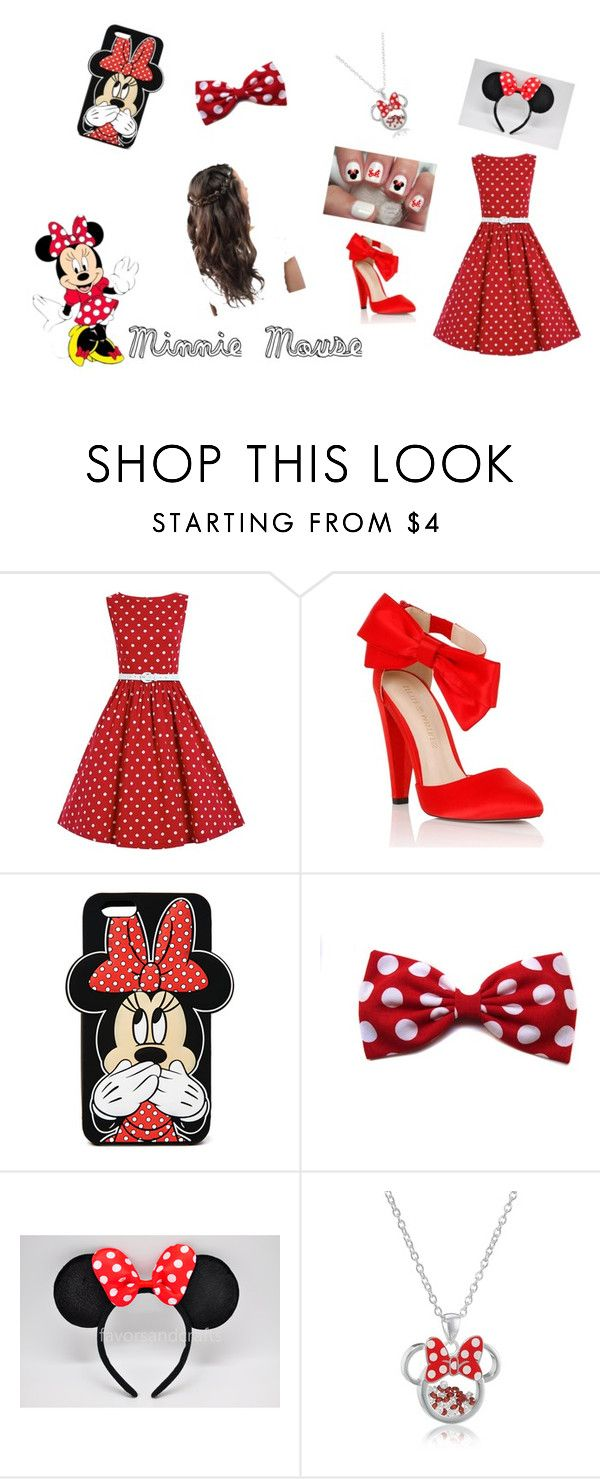 """Minnie Love"" by lidage on Polyvore featuring Lipsy, Forever 21, Disney, polkadot, redandwhite, minniemouse and ShowOffYourMinnie"