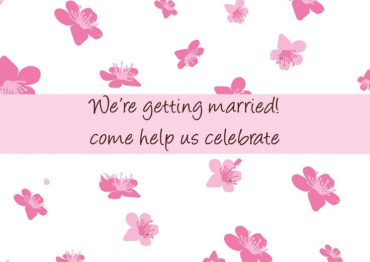 Cherry Blossom Engagement Invitation back. Creative  invitations, personal service